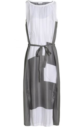 DKNY PURE Paneled silk midi dress