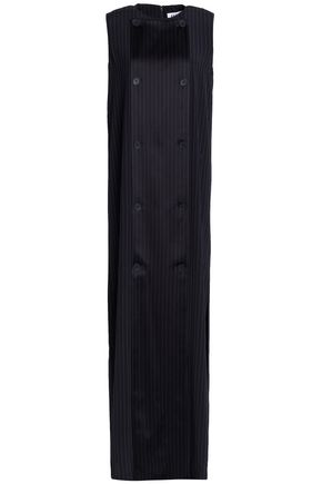 DKNY Pinstriped satin-crepe gown