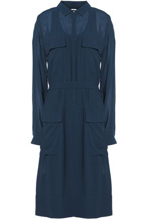 DKNY PURE Belted crepe shirt dress