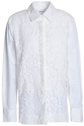 DKNY Cotton-blend corded lace shirt