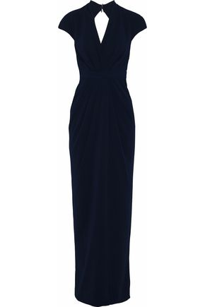 BADGLEY MISCHKA Wrap-effect cutout pleated crepe de chine gown