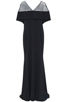 BADGLEY MISCHKA Tulle-paneled layered stretch-crepe gown