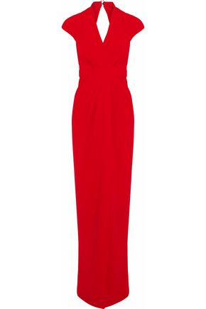 BADGLEY MISCHKA Wrap-effect cutout crepe gown