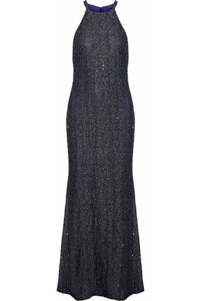BADGLEY MISCHKA Metallic beaded mesh gown