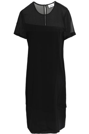 DKNY Paneled georgette and crepe de chine dress