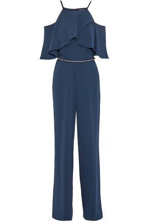 BADGLEY MISCHKA Cold-shoulder pearl-embellished ruffled cady jumpsuit