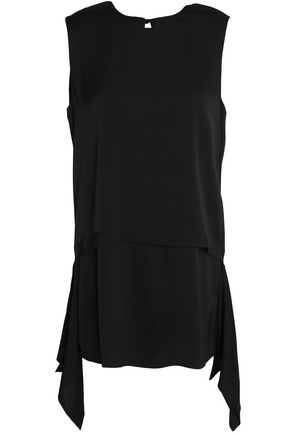 DKNY Draped silk-blend top