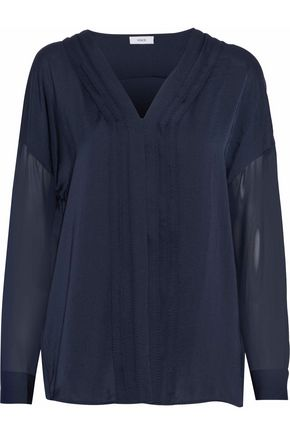 VINCE. Chiffon-paneled pintucked satin top