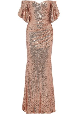 BADGLEY MISCHKA Off-the-shoulder gathered sequined tulle gown