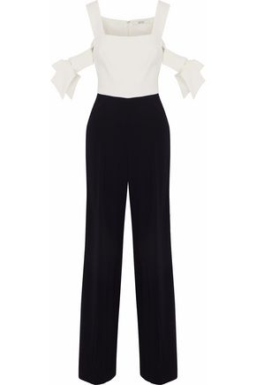 BADGLEY MISCHKA Cold-shoulder two-tone cady jumpsuit