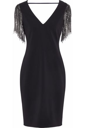 BADGLEY MISCHKA Cutout bead-embellished fringed cutout crepe dress