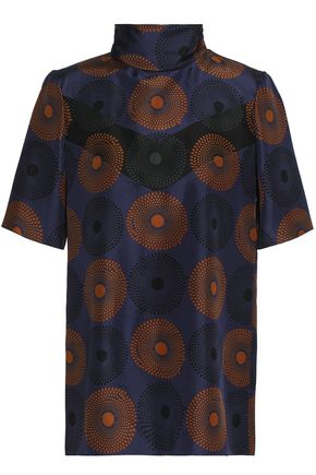 NINA RICCI Printed silk turtleneck top