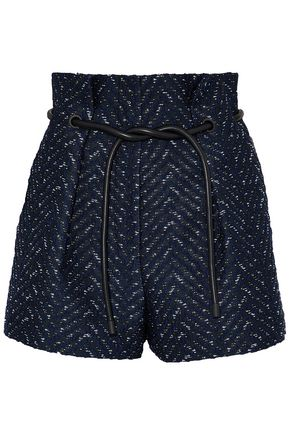3.1 PHILLIP LIM Faux leather-trimmed bouclé-tweed jacquard shorts