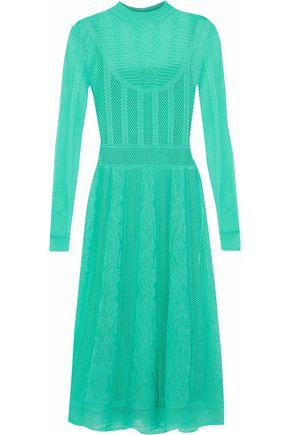 M MISSONI Crochet and pointelle-knit wool-blend dress