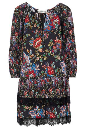 ALICE+OLIVIA Lakita tiered floral-print crepe mini dress