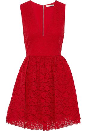 ALICE+OLIVIA Pleated corded lace mini dress
