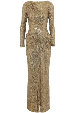 BADGLEY MISCHKA Ruched sequined cady gown