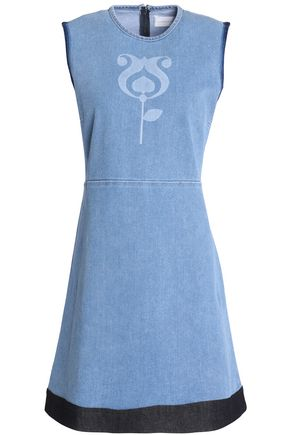 VICTORIA, VICTORIA BECKHAM Color-block printed denim mini dress