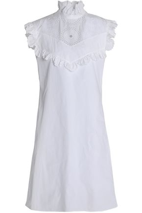 NINA RICCI Broderie anglaise-paneled ruffle-trimmed cotton-poplin dress