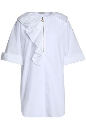 NINA RICCI Ruffled cotton-poplin shirt