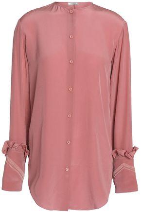 NINA RICCI Bead-embellished ruffle-trimmed silk shirt