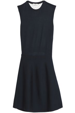 NINA RICCI Fil coupé tulle-paneled wool and silk-blend dress