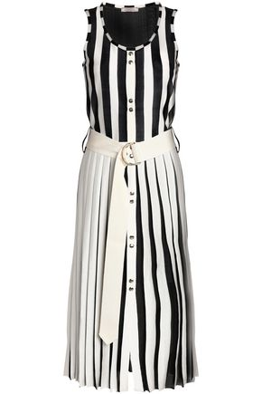NINA RICCI Belted striped stretch-knit midi dress