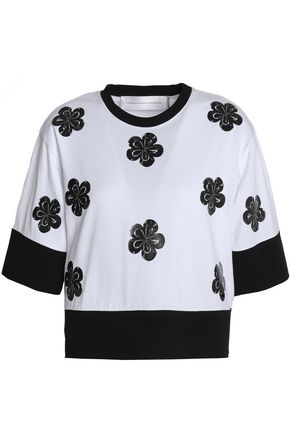 VICTORIA, VICTORIA BECKHAM Coated floral-appliquéd cotton-jersey T-shirt