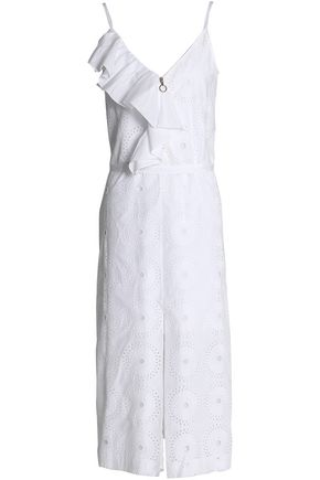 NINA RICCI Ruffled broderie anglaise cotton-poplin midi dress