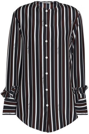NINA RICCI Ruffle-trimmed striped silk shirt