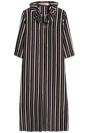 NINA RICCI Ruffle-trimmed striped silk midi dress