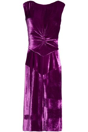 NINA RICCI Ruched velvet dress