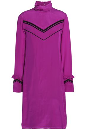 NINA RICCI Bead-embellished ruffle-trimmed turtleneck dress