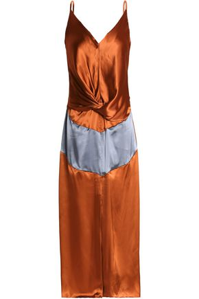 NINA RICCI Draped two-tone satin midi dress