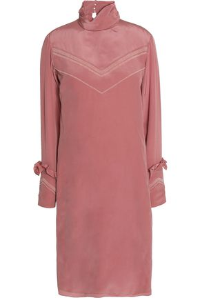 NINA RICCI Bead-embellished ruffle-trimmed silk dress