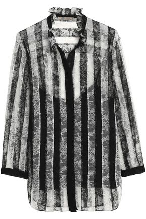 NINA RICCI Ruffle-trimmed striped Chantilly lace blouse