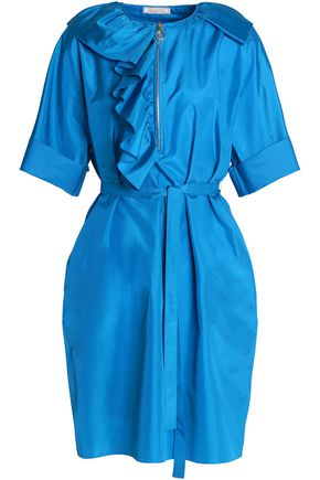 NINA RICCI Belted ruffled silk-satin dress