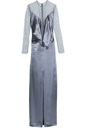 NINA RICCI Lace-paneled draped satin gown