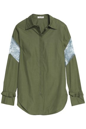 NINA RICCI Lace-paneled ruffle-trimmed cotton-poplin shirt