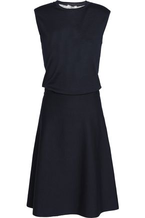 NINA RICCI Tulle-paneled wool and silk-blend dress