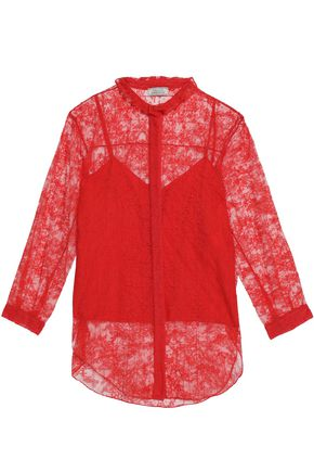 NINA RICCI Ruffle-trimmed layered lace shirt