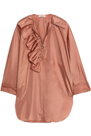 NINA RICCI Ruffled silk-satin blouse