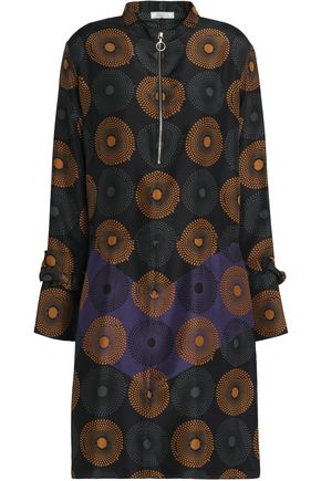 NINA RICCI Printed ruffle-trimmed silk dress