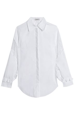 NINA RICCI Lace-paneled ruffle-trimmed cotton-poplin shirt