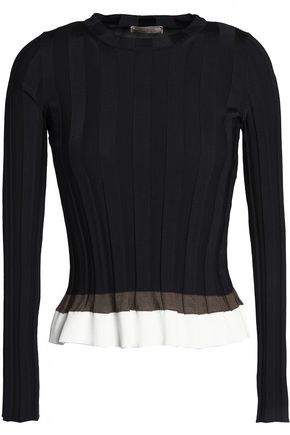 NINA RICCI Flared color-block ribbed-knit top