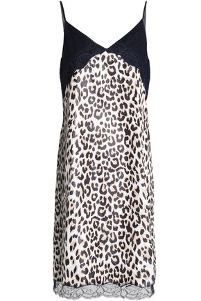 NINA RICCI Lace-paneled leopard-print satin dress