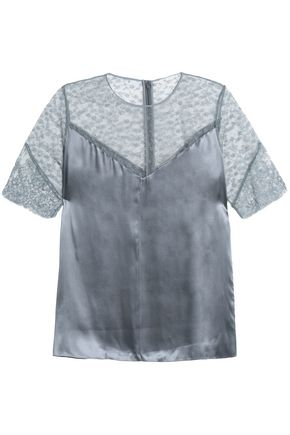 NINA RICCI Embroidered tulle-paneled satin top