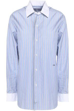 CURRENT/ELLIOT + CHARLOTTE GAINSBOURG Embroidered striped cotton-poplin shirt