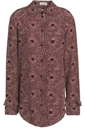 NINA RICCI Ruffle-trimmed printed silk shirt