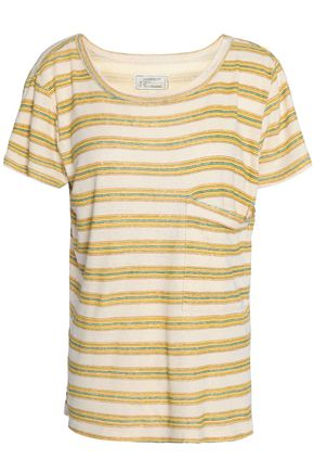 CURRENT/ELLIOTT Striped cotton-blend T-shirt